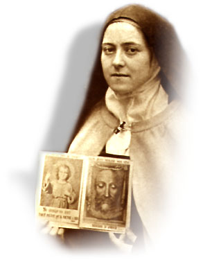Thérèse with picture of the Holy Face